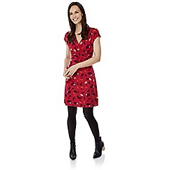 Uttam Boutique - Red feather print jersey dress