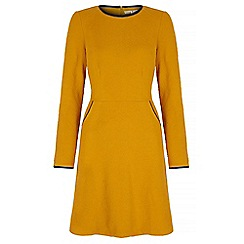 Uttam Boutique - Yellow textured ponte day dress