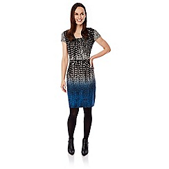 Uttam Boutique - Blue geo dip dye print dress