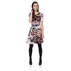 Uttam Boutique - Multicoloured  Maple Leaf Print Tea Dress