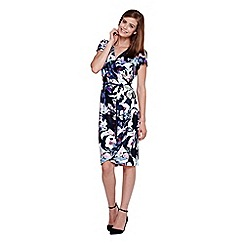 Yumi - blue Flower Print Wrap Dress
