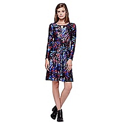Yumi - black Bird Printed Long Sleeve Jersey Dress