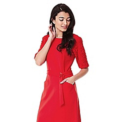 Yumi - red Lace Sleeve Belt Dress
