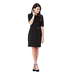Yumi - black Lace Sleeve Belt Dress