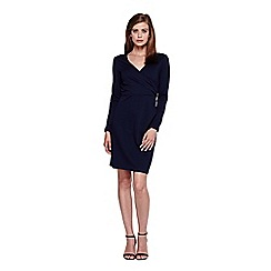 Yumi - Blue Navy Long Sleeved Wrap Dress