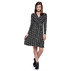 Yumi - black Mini Brush Stroke Printed Jersey Wrap Dress
