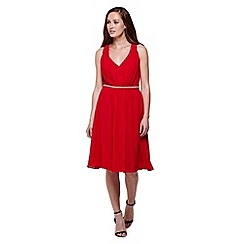 Yumi - red Diamante Detail Midi Party Dress