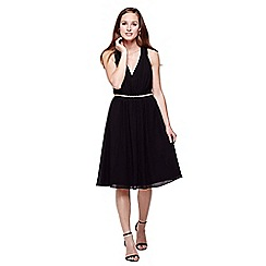 Yumi - black Diamante Detail Midi Party Dress