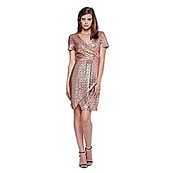 Yumi - Gold Wrap Dress With Sequins