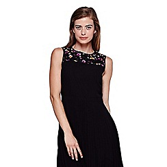 Yumi - black Sequin Party Dress With Pleats