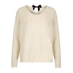 Uttam Boutique - Cream tie bow raglan jumper