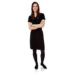 Uttam Boutique - Black ribbed knitted jumper dress