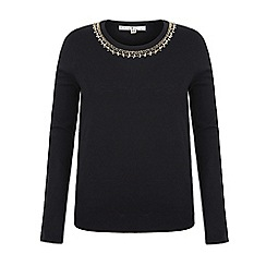 Uttam Boutique - Black embellished crew neck jumper