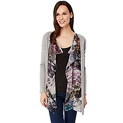 Uttam Boutique - Grey maple leaf print waterfall cardigan