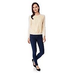 Uttam Boutique - Cream Lace Detail Jumper