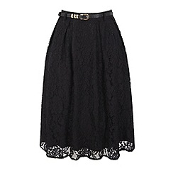 Uttam Boutique - Black pleated lace midi skirt