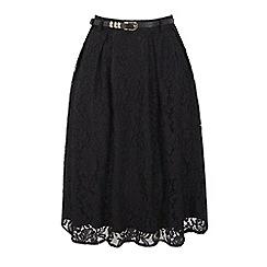 Uttam Boutique - Black pleated lace midi skirt