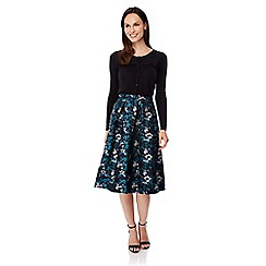 Uttam Boutique - Green midnight floral print midi skirt