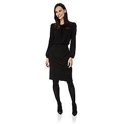 Uttam Boutique - Black textured ponte pencil skirt