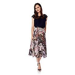 Uttam Boutique - Multicoloured maple print pleated midi skirt
