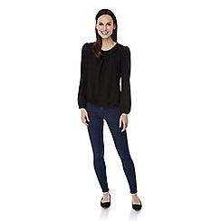 Uttam Boutique - Black long sleeve pleat detail blouse