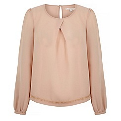 Uttam Boutique - Pink long sleeve pleat detail blouse