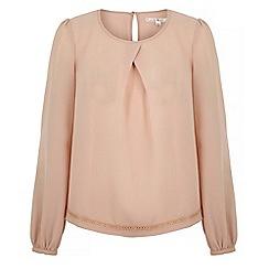 Uttam Boutique - Pink long sleeve pleat detail blouse