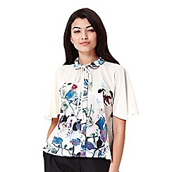 Yumi - ivory Floral Printed Bow Blouse