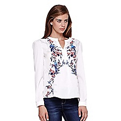 Yumi - ivory Flower & Bird Print Blouse
