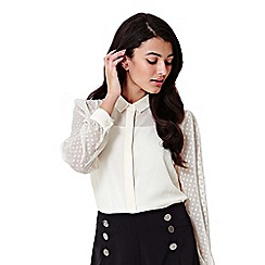 Yumi - ivory Spotted Sleeve Textured Shirt