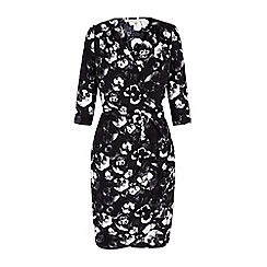 Uttam Boutique - Black Monochrome Pansy Print Wrap Dress