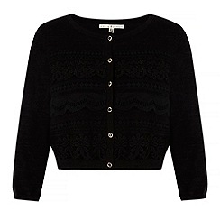 Uttam Boutique - Black Mixed Lace Cropped Cardigan