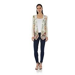Uttam Boutique - Cream Cascading Floral Print Waterfall Cardigan