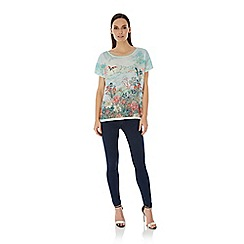 Uttam Boutique - Blue Oriental Print Tunic Top
