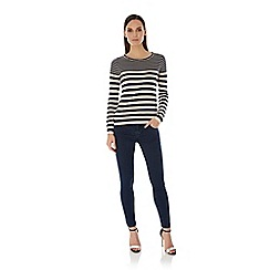 Uttam Boutique - Blue embellished stripe print jumper