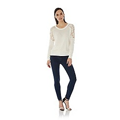 Uttam Boutique - Cream Lace Shoulder Jumper