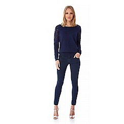 Uttam Boutique - Blue Lace Shoulder Jumper
