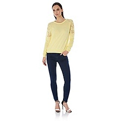Uttam Boutique - Yellow Lace Shoulder Jumper