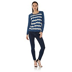 Uttam Boutique - Blue Daisy Stripe Print Jumper