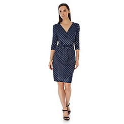 Uttam Boutique - Blue Daisy Print Long Sleeve Wrap Dress