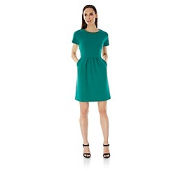 Uttam Boutique - Green Textured Ponte Day Dress