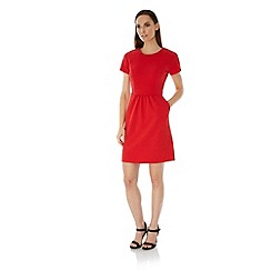 Uttam Boutique - Red Textured Ponte Day Dress