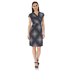 Uttam Boutique - Blue diamond dot print wrap dress