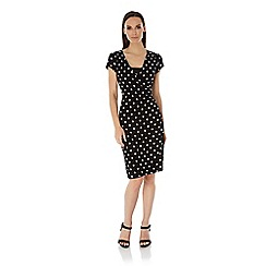 Uttam Boutique - Black polka dot print wrap dress