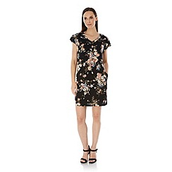 Uttam Boutique - Black Floral Print Shift Dress