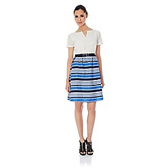 Uttam Boutique - Anglaise dress with stripey daisy print skirt