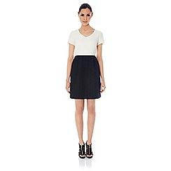 Uttam Boutique - Monochrome daisy jacquard dress