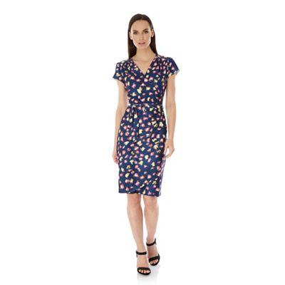 Uttam Boutique Blue leopard print wrap dress
