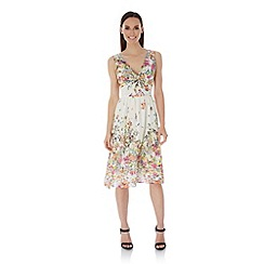 Uttam Boutique - Cream Cascading Floral Print Day Dress