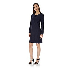 Uttam Boutique - Blue Long Sleeve Lace Shift Dress
